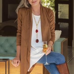 Laura Plus Brown Microsuede Faux Suede Blazer Open Jacket Drapey Boho bohemian